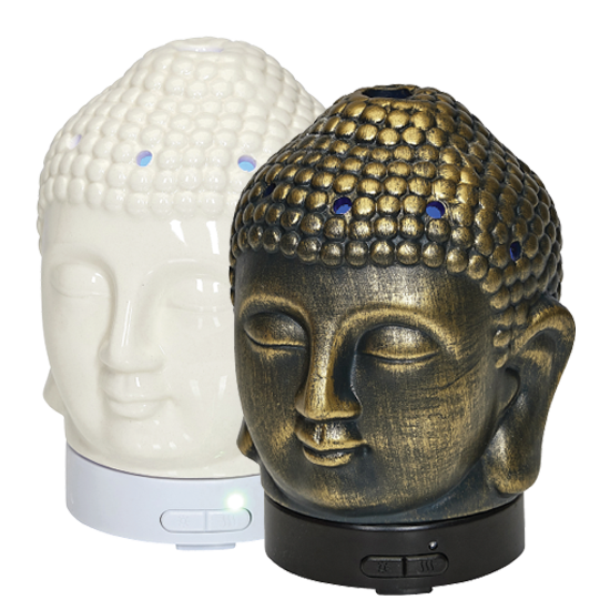 Wholesale Ceramic Buddha Head Ultrasonic Diffusers White Bronze